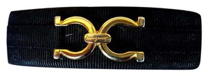 Salvatore Ferragamo Vintage Black Barrette with Gold Hardware