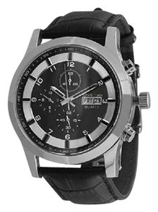 Other Luxurious Men's Black Leather Chrono Watch With Stainless Steel And Sapphire Crystal (packaged in a gift box)