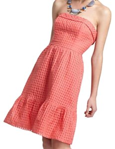 BHLDN short dress Coral Strapless Anthropologie Gingham Ruffle on Tradesy