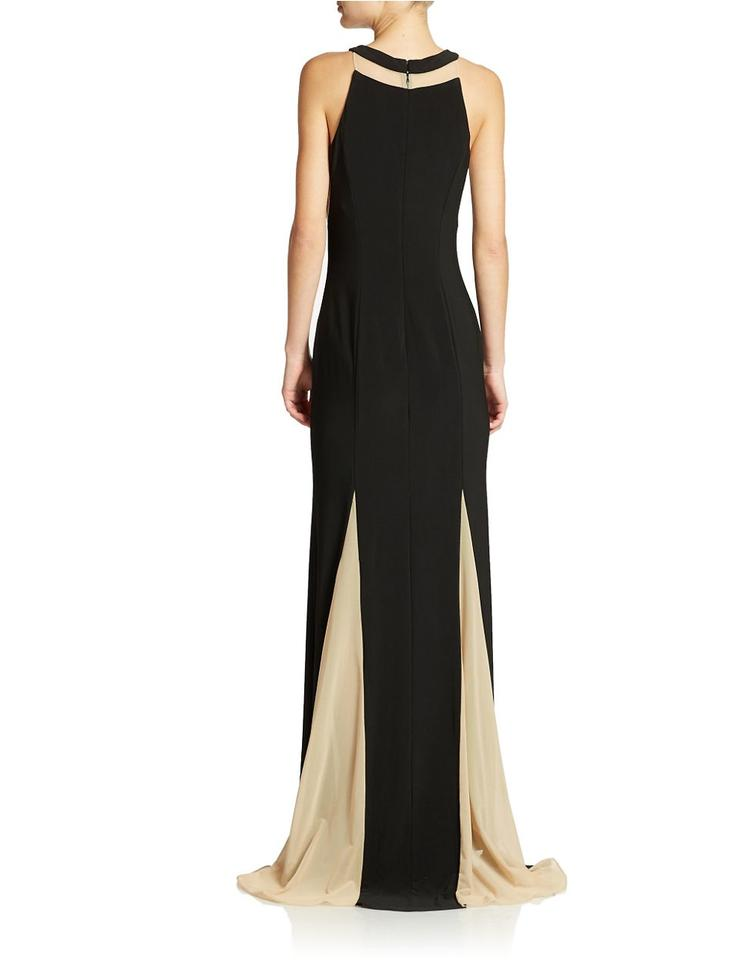 Xscape Beige Illusion Panel Pleated Halter Gown Black/Nude Long ...