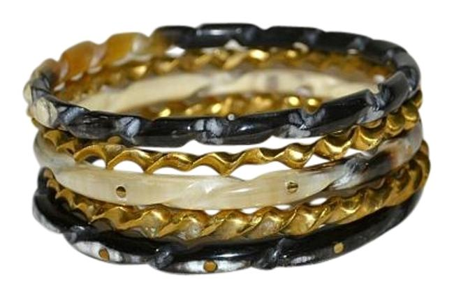 Item - Horn Brown and Bronze Set Of 5 Mixed Bangle Stacking Bracelet