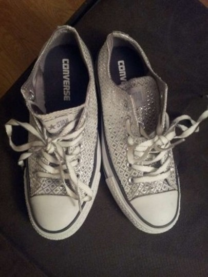 Converse White Sparkly Bridal Chuck Taylor's All Stars Athletic Shorts Size US 6.5