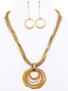 Multi Layered Gold Metal Circle Pendant Necklace Set