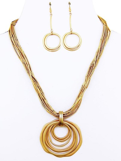 Other Multi Layered Gold Metal Circle Pendant Necklace Set Image 0