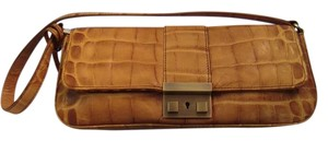 Donald J. Pliner Leather Embossed Wristlet in Golden Tan