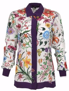 a1cf3b4c06a Gucci Multi-color New Women s 362044 150 Flora Floral Long Sleeve Silk 38  Xs Blouse