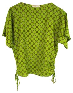 Michael Kors Printed Chain Dolman Sleeves Ballet Neck Top Green