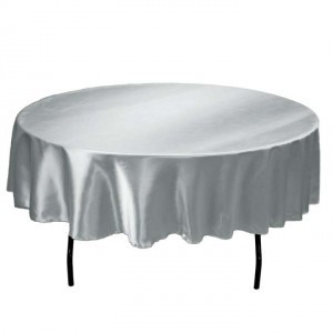 Silver Satin 6 90 In Tablecloth