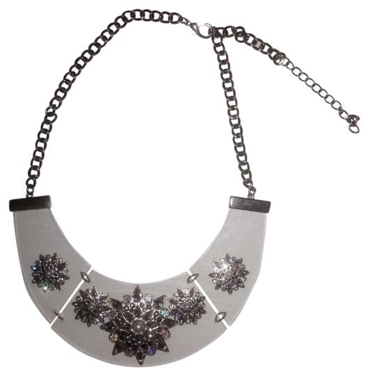 Other Silver Rhinestone Clear Acrylic Statement Fashion Chain Necklace