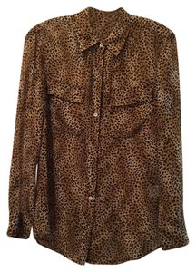 Equipment Work Office Fun Silk Top Leopard