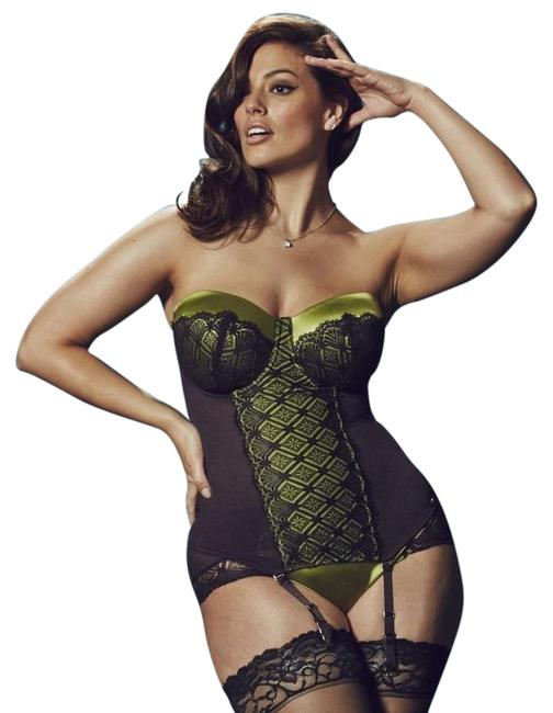 Item - Lime Green/Charcoal Lace Basque For Simply 38dd Bikini Set Size OS (One Size)
