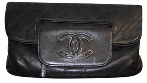 Chanel Leather Fold Over Black Clutch