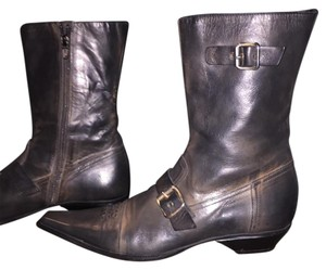 Donna Carolina Italian leather boots Black and brown rustic Boots