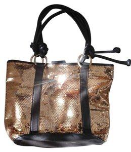 BCBGeneration Tote in Gold Glitetr/Brown leather
