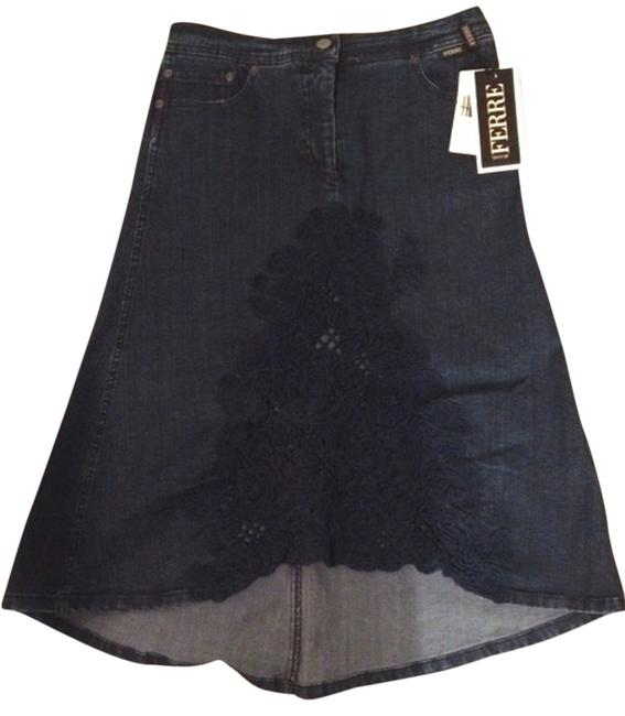 Gianfranco FERRE Jeans Denim Dark New With Tags High-low Vintage Skirt Blue