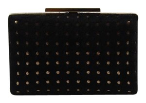 Vince Camuto Cow Hair Gold Hardware Black Clutch