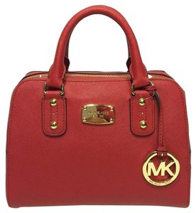 Michael Kors Leather Crossbody Satchel in Red