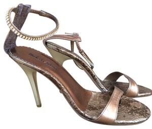 Michael Antonio Metallic Zipper Diamond Crystal Bronze Sandals