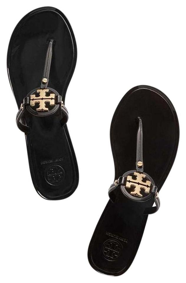 Tory Jelly Burch Black Mini Miller Jelly Tory Thong with Logo Sandals b9ab28