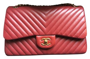 Chanel Chevron Double Flap Lambskin Shoulder Bag