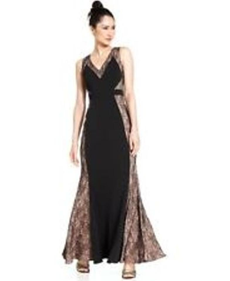 JS Collections Black Sleeveless Lace Panel Long Formal Dress Size 6 ...