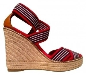 Tory Burch Red, white and blue with jute Wedges
