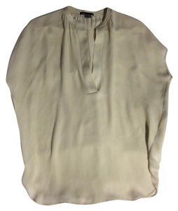 Vince Silk Sleeveless Loose Fit Tunic Top light grey