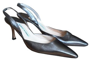 Manolo Blahnik Metallic green / silver Pumps