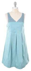 BCBGMAXAZRIA short dress Teal Stretch Crochet Strap Pleated Tie-back Babydoll on Tradesy