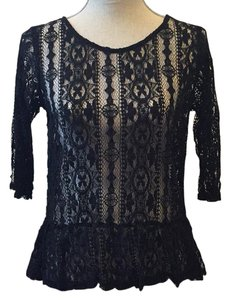 Made in San Francisco Lace Anthropologie Drop Waist Top Black