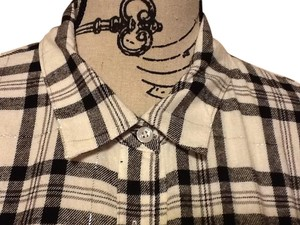 Basic Editions Plaid Sparkle Longsleeve Collared Relaxed Button Down Shirt Silver Black White