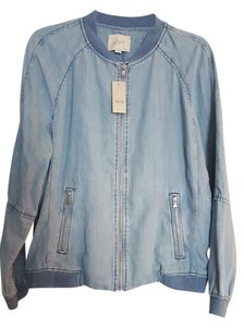 Ann Taylor LOFT Bomber Summer Denim light blue Womens Jean Jacket