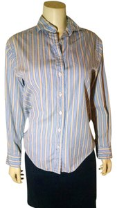 Faonnable Button Down Blouse Button Down Shirt blue, yellow, white