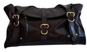Foley + Corinna Satchel in Black Leather with Gold Hardware and Zippers