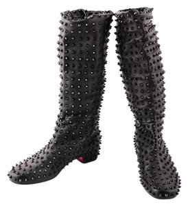 Christian Louboutin Leather Studded Black Boots