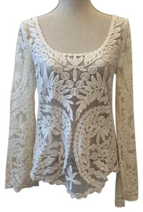 Urban Outfitters Lace Bell Sleeve Long Sleeve Top Ivory