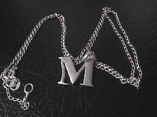 """Vintage Sterling silver Initial """" M """" Necklace"""