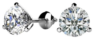 Avi and Co 1.54 cttw Round Diamond Martini Screw Back Stud Earrings H-I/SI 14K White Gold