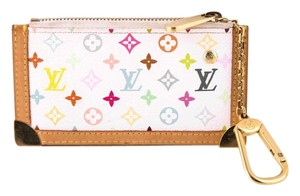 Louis Vuitton * LOUIS VUITTON Multicolor Key Pouch Blanc White