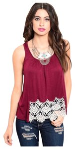 Top Burgundy With White Lace Trim