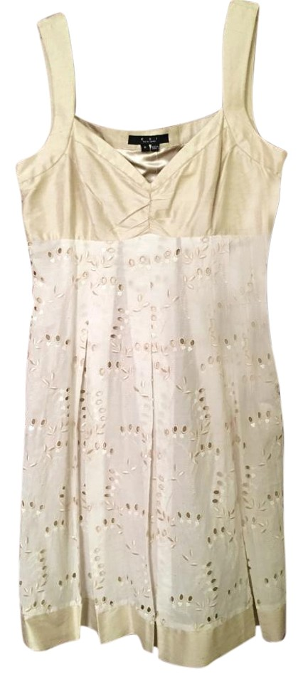 Eci New York Ivory Light Gold Cream Lace Embroidered Rt Mid Length