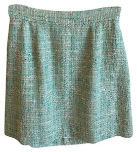 Kate Spade Tweed Mini Mini Skirt Teal with cream and silver accents