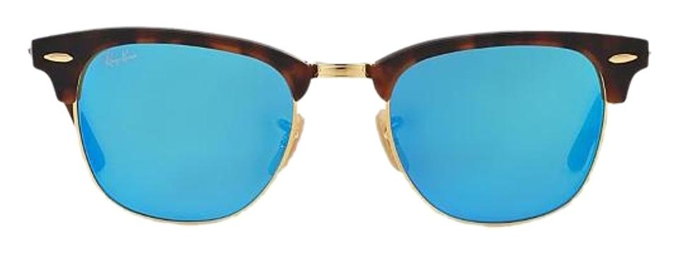 b74590536b5 Ray-Ban Tortoise with Gold Trim   Blue Mirrored Lenses Clubmaster Rb ...