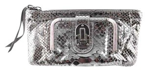 Chloé Python Buckle metallic silver Clutch