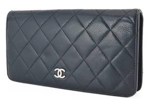 Chanel France Classic Black Quilte Caviar Leather Long Wallet Coin Purse