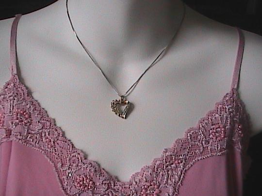 Vintage Italy Sterling Silver Heart CZ Necklace