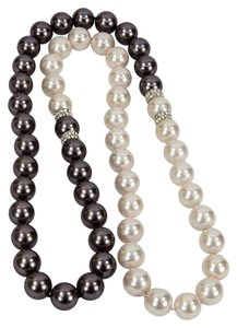 Dramatic Fashion Black and White Long Pearl Necklace