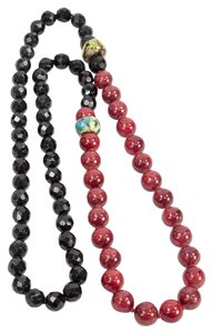 Striking Black Jet and Red Agate Beads Necklace