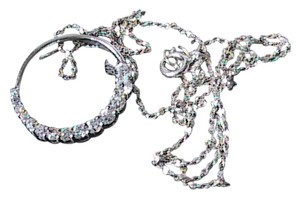 Unknown Sterling Silver Circle CZ Necklace