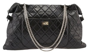 Chanel Reissue Mademoiselle Quilted Calfskin Leather Tote in Black